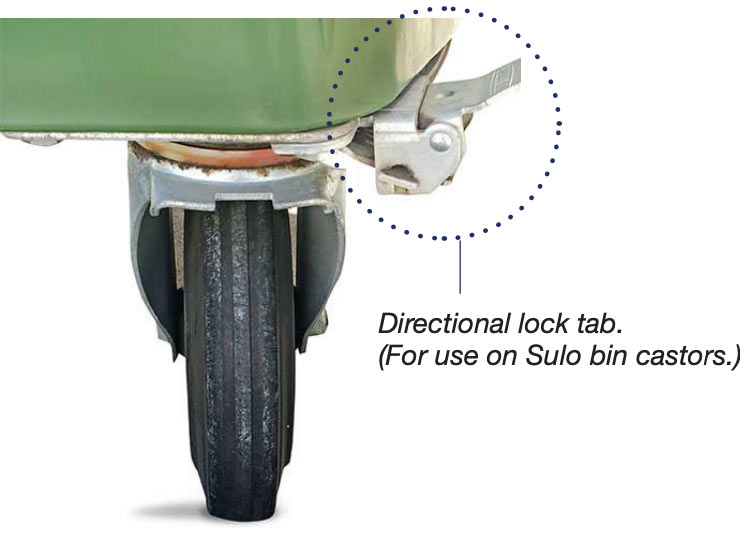 Directional lock tabs on bin