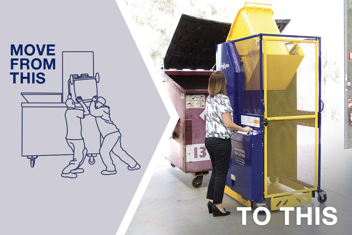 Lift safely and easily with a Liftmaster bin lifter