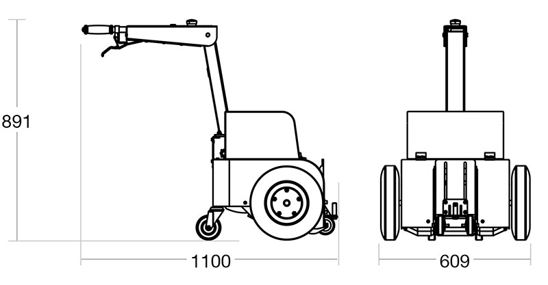 A diagram of the Tug Compact with its dimensions