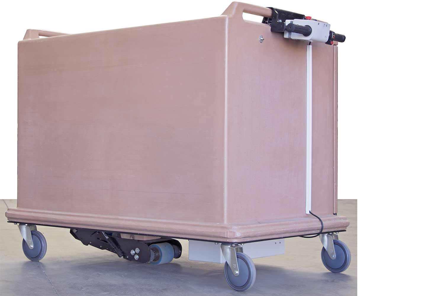 Electrodrive's Powered Fifth Wheel retrofitted to a meal delivery trolley